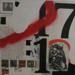Help Us 40cm x 40 cm mixed media on canvas