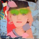 Grean jean 40cm x 40cm jump mixed media on canvas