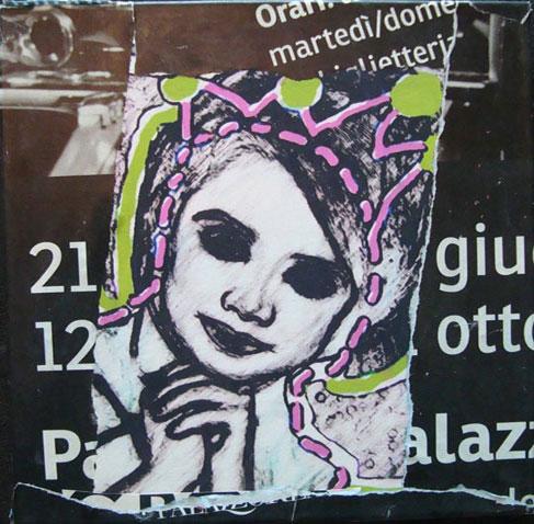 Please Queen 40cm x 40cm jump mixed media on canvas
